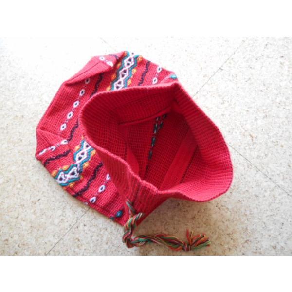 ブルガリア ブルガリア織 巾着 袋 赤 レッド 中 0053