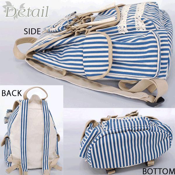リュック リュックサック レディース 森ガール ストライプ 可愛い かわいい 帆布 リュックサック|actionbag|02
