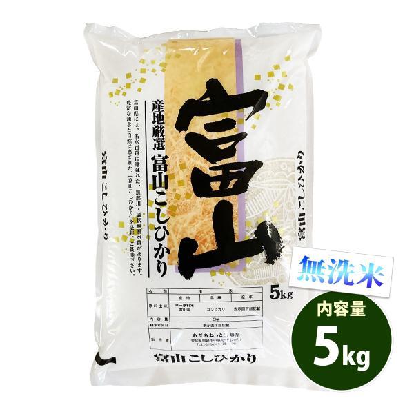 新米 無洗米 5kg 送料別 コシヒカリ 富山県産 令和3年産 1等米 米 5キロ お米 あす着く食品