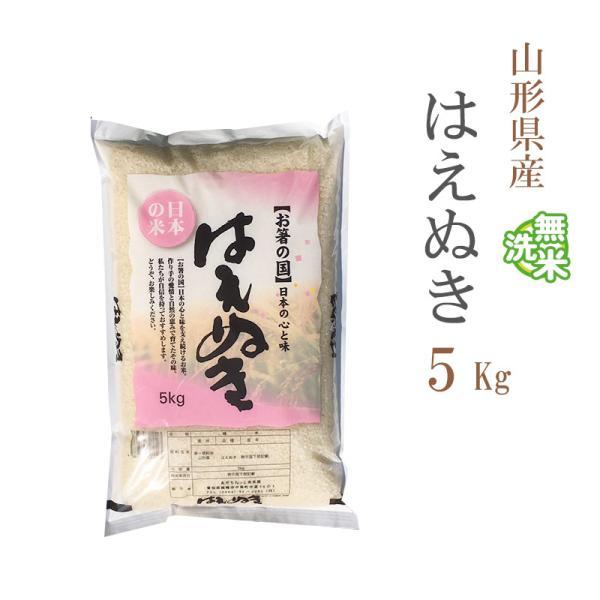 無洗米 5kg 送料別 はえぬき 山形県産 令和2年産 1等米 米 5キロ お米 あす着く食品
