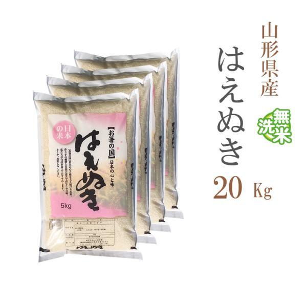 無洗米 20kg 送料無料 はえぬき 5kg×4袋 山形県産 令和2年産 1等米 米 20キロ お米 食品 北海道・沖縄は追加送料