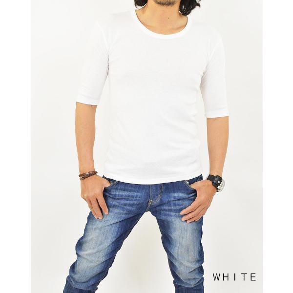 Tシャツ メンズ 半袖 無地 5分袖 五分袖 カットソー Uネック/2点までメール便可能|adamas|04