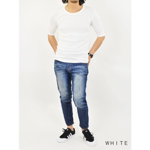 Tシャツ メンズ 半袖 無地 5分袖 五分袖 カットソー Uネック/2点までメール便可能|adamas|05
