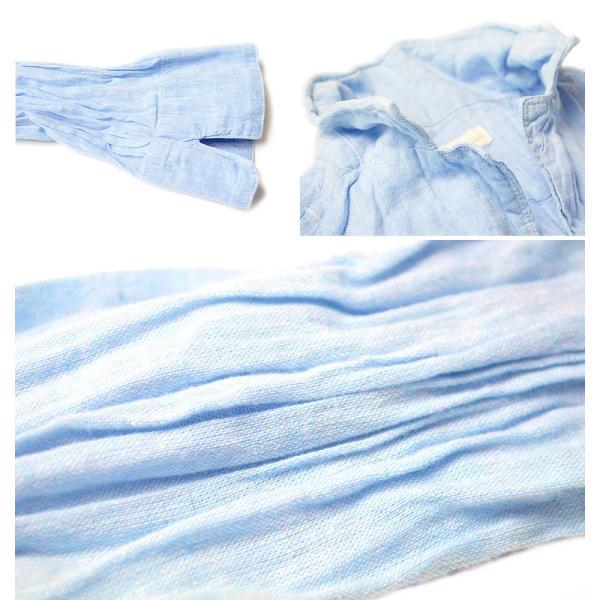 シャツ メンズ 長袖 カジュアルシャツ しわ加工 ワイヤー入りシャツ シャツジャケット ブルー コットン リネン 2017春夏 新作|adamas|04