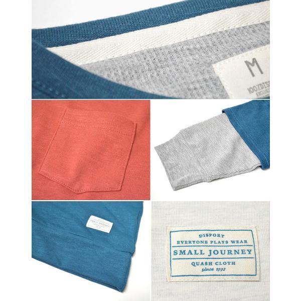Tシャツ メンズ 重ね着 フェイク レイヤード カットソー 6分袖 スウェットTシャツ 袖ワッフル生地|adamas|03