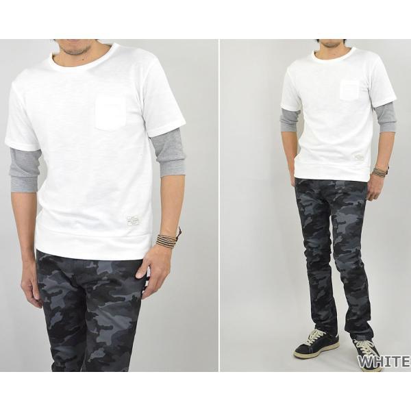Tシャツ メンズ 重ね着 フェイク レイヤード カットソー 6分袖 スウェットTシャツ 袖ワッフル生地|adamas|04