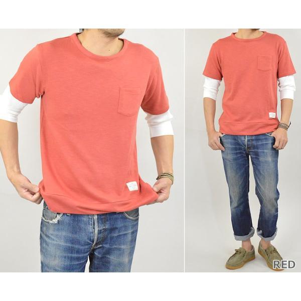 Tシャツ メンズ 重ね着 フェイク レイヤード カットソー 6分袖 スウェットTシャツ 袖ワッフル生地|adamas|05