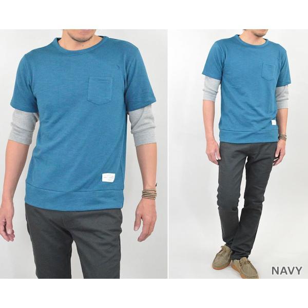 Tシャツ メンズ 重ね着 フェイク レイヤード カットソー 6分袖 スウェットTシャツ 袖ワッフル生地|adamas|06