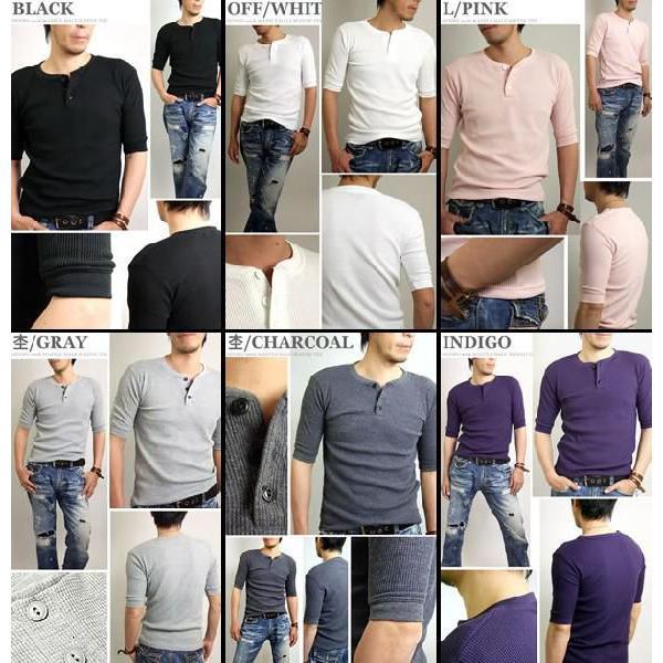ヘンリーネック/5分袖/五分袖/Tシャツ/メンズ/無地/ワッフル|adamas|03