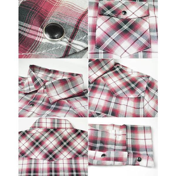 チェックシャツ メンズ  ウエスタンシャツ 長袖シャツ カジュアルシャツ 秋冬 春  綿 薄手 柄シャツ|adamas|03