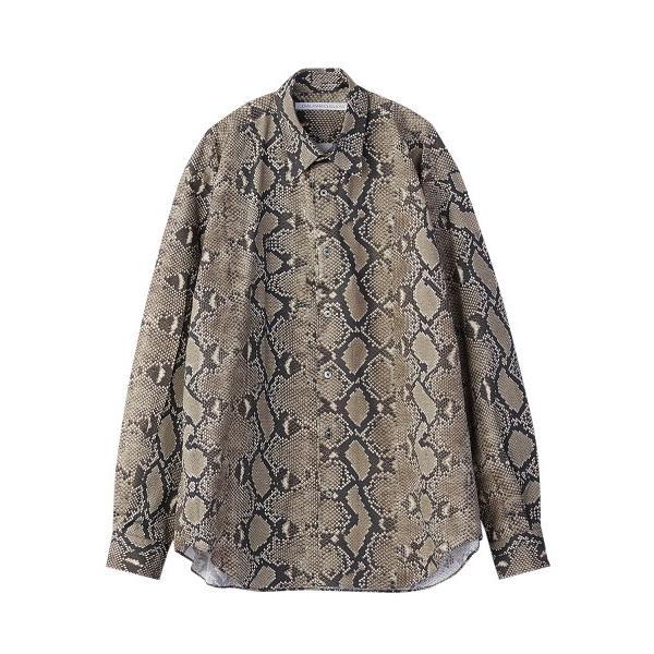 JOHNLAWRENCESULLIVAN ジョンローレンスサリバン PYTHON PRINTED COTTON REGULER COLLER SHIRT (BEIGE) パイソンシャツ|addictive