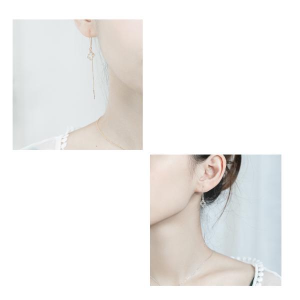 ピアス よつば クローバー S925 純銀製 シルバー ラッピング 母の日 ギフトセット(2色)|adelina-style|02