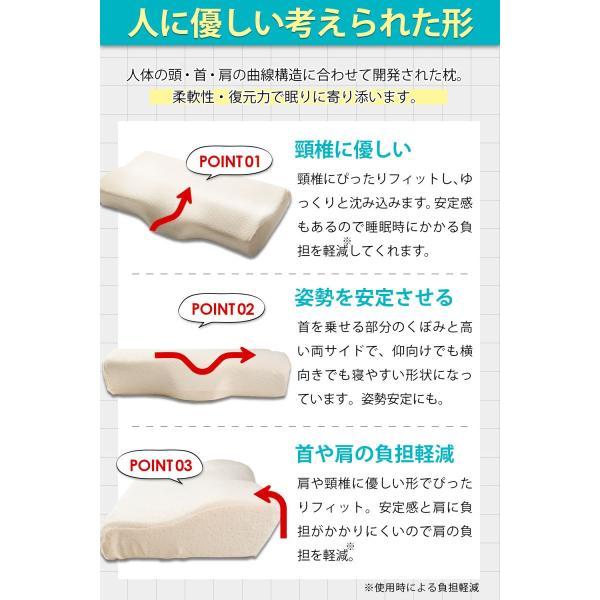 低反発枕 安眠 枕 肩こり いびき 改善 洗える カバー 2枚付き 3カラー 34×60cm Hizak adew 04