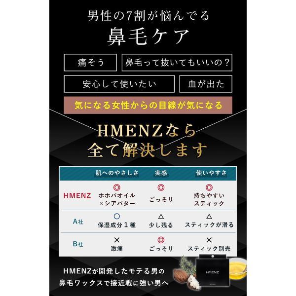 メンズ 鼻毛ワックス 脱毛 日本製 男性 24本 12回分  HMENZ|adew|03