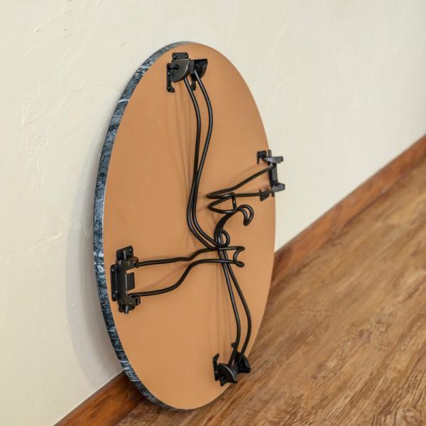 モダン 折りたたみテーブル 丸型 60cm幅 石目調 THS-26 猫脚|adhoc-style|11