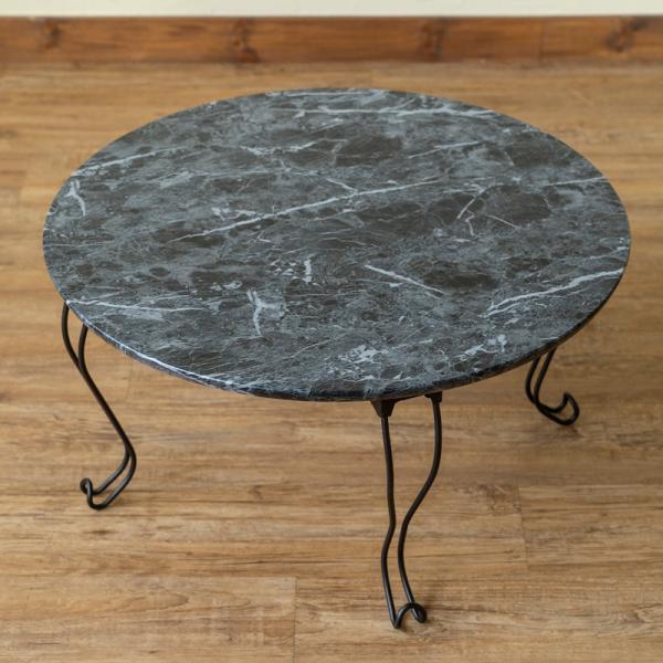 モダン 折りたたみテーブル 丸型 60cm幅 石目調 THS-26 猫脚|adhoc-style|09