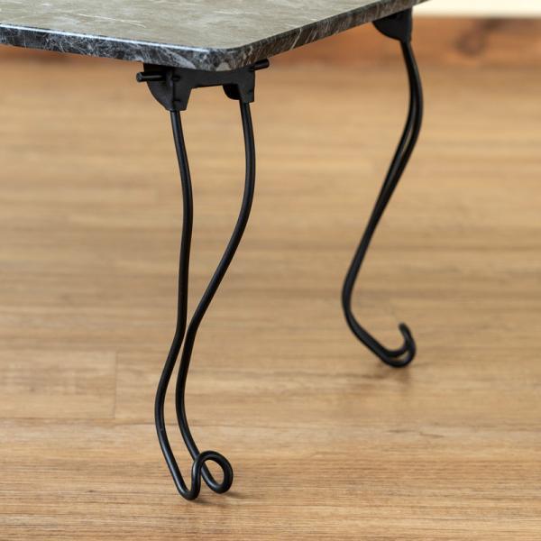 モダン 折りたたみテーブル 角型 80cm幅 石目調 THS-27 猫脚 adhoc-style 11