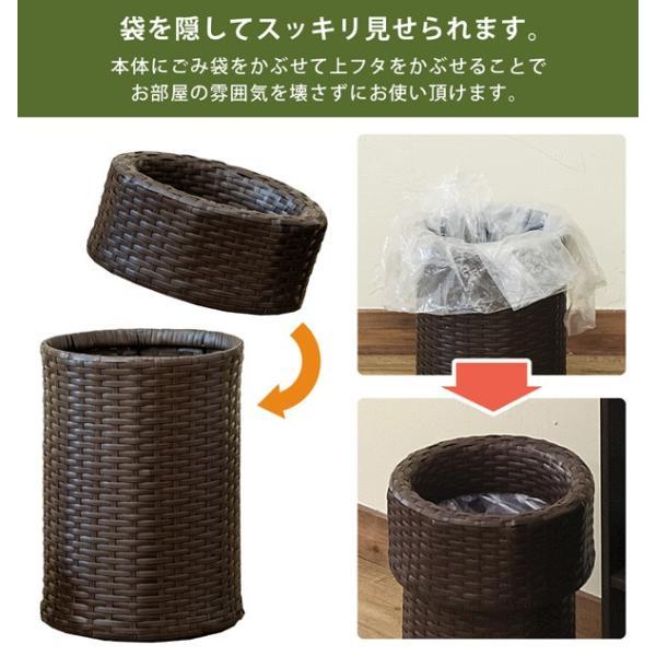 ゴミ箱 ごみ箱 ラタン調ダストボックス TMR-11|adhoc-style|06