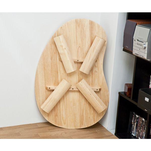 折りたたみテーブル 90cm×60cm  ビーンズ型 天然木製 WZ-901|adhoc-style|05