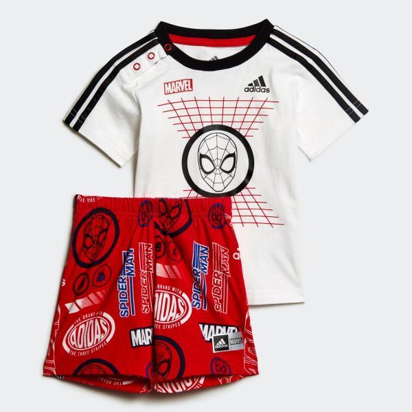 返品可 アディダス公式 ウェア セットアップ adidas I MARVEL スパイダーマン Tシャツ&ハーフパンツ上下セット|adidas