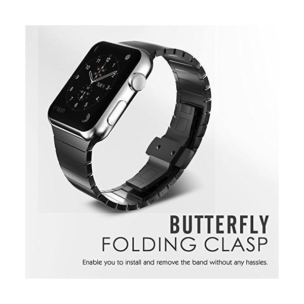 MaKer ステンレススチール リンクブレスレット バンドに対応しますApple Watch Series 4/3/2/1(44mm/42mm,ブラ