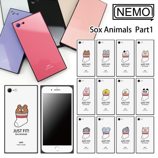 iPhone11Pro ケース ガラス iPhone11 ケース iPhone8 ケース iPhone XR ケース iPhone 11ProMax XS XSMax X 7 8Plus 7Plus ケース スクエア 動物 NEMO|advan