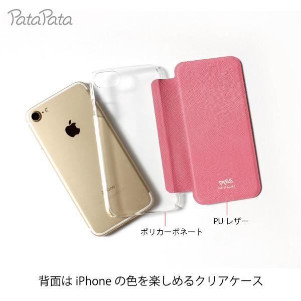 iPhone XS ケース iPhone 11 ケース iPhone 11 Pro X 8 7 8Plus 7Plus 6s 6 6sPlus 6Plus ケース 手帳型 カード収納 クリア ワンポイント PataPata|advan|03