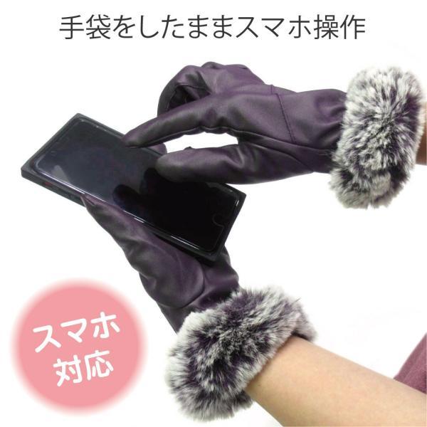 手袋 スマホ対応 ファー スマートフォン対応 防寒 秋冬ファッション advan 03