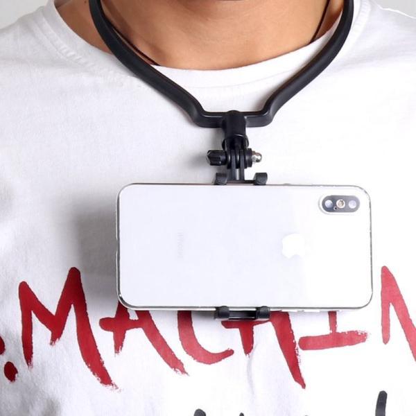 ネックマウント 首掛けスマホホルダー アクションカムホルダー 目線撮影 iPhone アンドロイド 4〜6インチのスマホ Gopro スマートフォン ネックホルダー|advanceworks2008|03