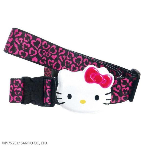 (送料無料)(代引き不可)Hello Kitty ハローキティ スーツケースベルト ワンタッチベルト ハートヒョウ ブラック