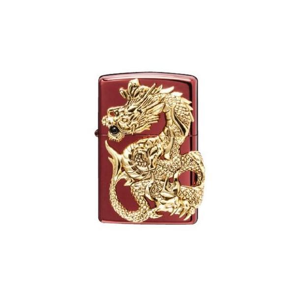 (送料無料)ZIPPO ドラゴンメタル 限定 RED