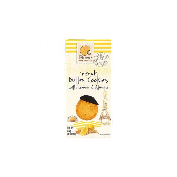 (送料無料)(代引き不可)ピエールビスキュイットリー バタークッキー レモン&アーモンド 55g 12セット
