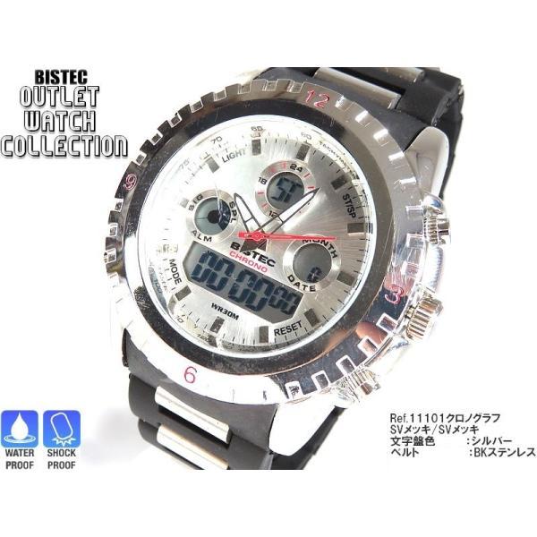 BISTEC デジタル腕時計デカ顔 シルバー/レッド advanceworks2008