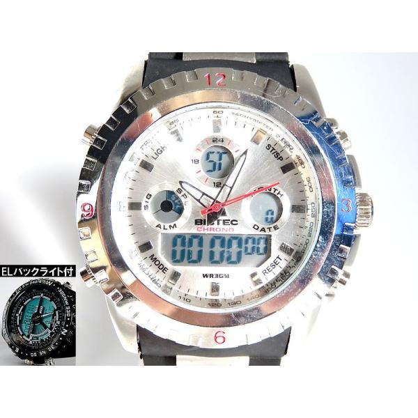 BISTEC デジタル腕時計デカ顔 シルバー/レッド advanceworks2008 02