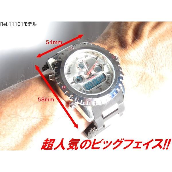 BISTEC デジタル腕時計デカ顔 シルバー/レッド advanceworks2008 03