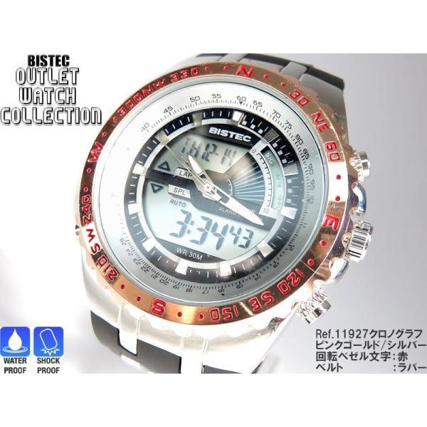 BISTEC デジタル腕時計デカ顔 回転ベゼルピンクゴールドシルバー/文字赤|advanceworks2008