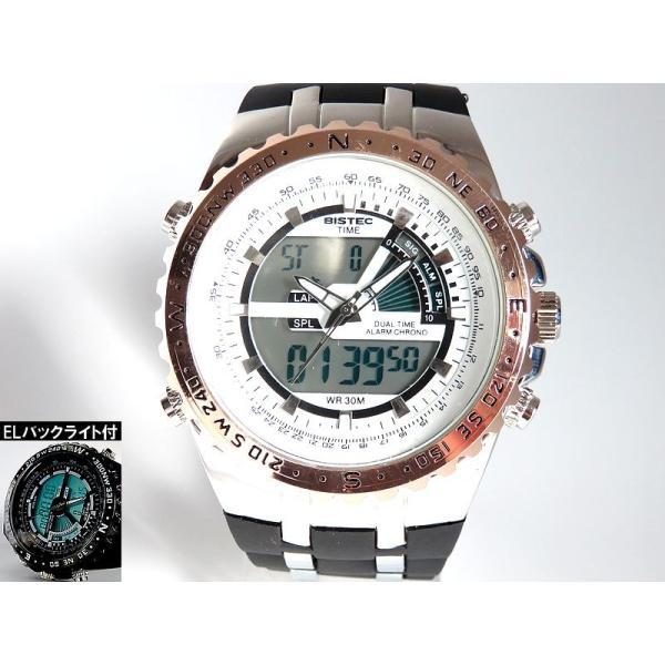 BISTEC デジタル腕時計デカ顔 回転ベゼルピンクゴールドシルバー/文字赤|advanceworks2008|02