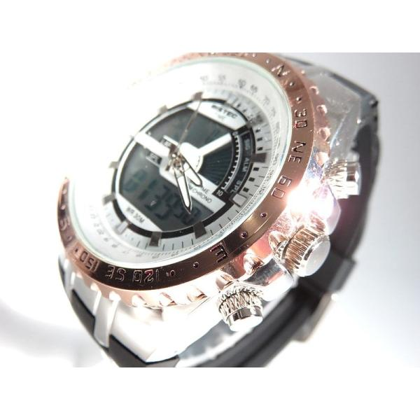 BISTEC デジタル腕時計デカ顔 回転ベゼルピンクゴールドシルバー/文字赤|advanceworks2008|03