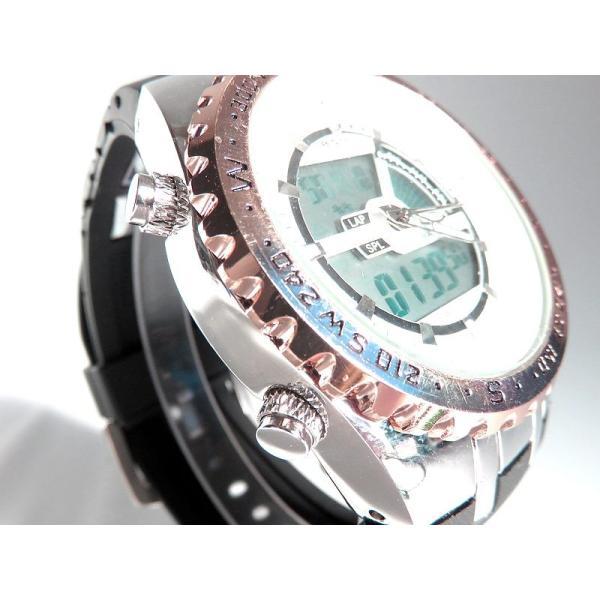 BISTEC デジタル腕時計デカ顔 回転ベゼルピンクゴールドシルバー/文字赤|advanceworks2008|04