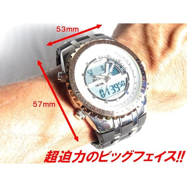 BISTEC デジタル腕時計デカ顔 回転ベゼルピンクゴールドシルバー/文字赤|advanceworks2008|05