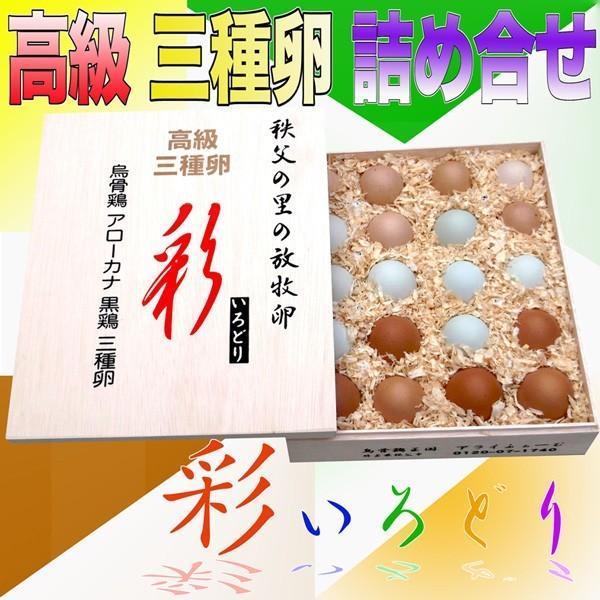 特選;三種鶏卵「彩(いろどり)」20個木箱入り¥4,960 烏骨鶏の卵/アローカナの青い卵/岡崎おうはん/