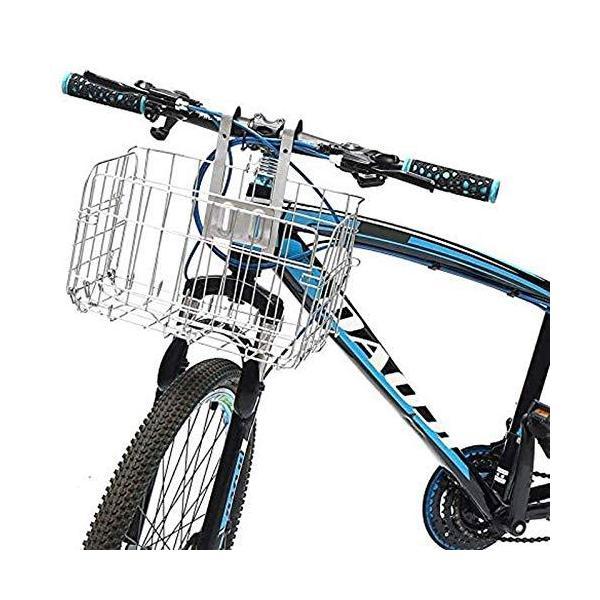 自転車カゴ 自転車用バスケット 折りたたみ式前カゴ 簡単脱着 ステンレス製 大容量 耐荷重20kg 丈夫 マウンテンバイク クロスバイク 折り畳み自転車 afan-mori