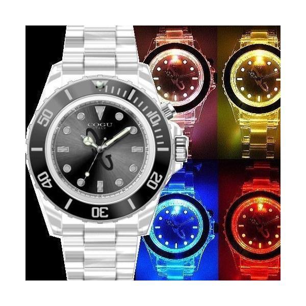 4万6,112円税別→90%OFF【訳あり:箱なし】COGU ITALY腕時計ナイトフラッシュ/LED発光男女兼用/メンズ・レディース|again