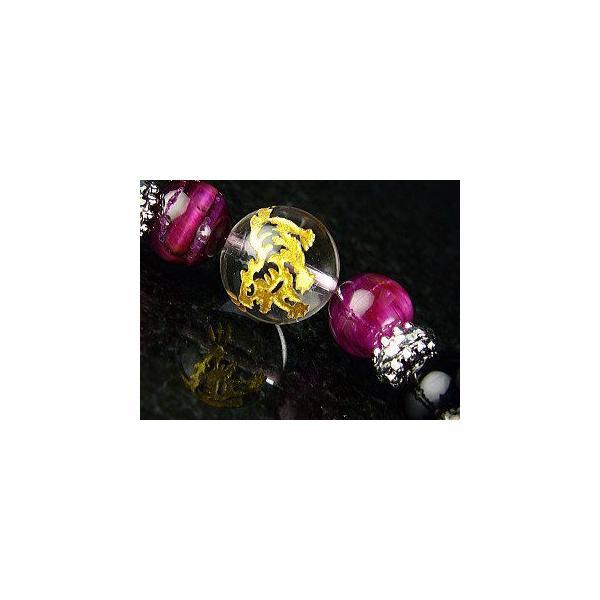 ≪完売御礼≫黄金四神(四聖獣)ピンクタイガーアイ×オニキス/天然石 パワーストーンブレスレット|青龍|白虎|朱雀|玄武|again|05