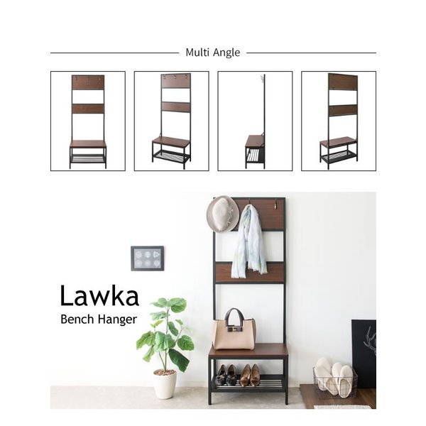 ベンチハンガー Lawka(ラウカ) エントランスチェア コートハンガー 玄関スツール おしゃれ 玄関ハンガー ミッドセンチュリー ブラウン 玄関ベンチ bcw-600|age|12