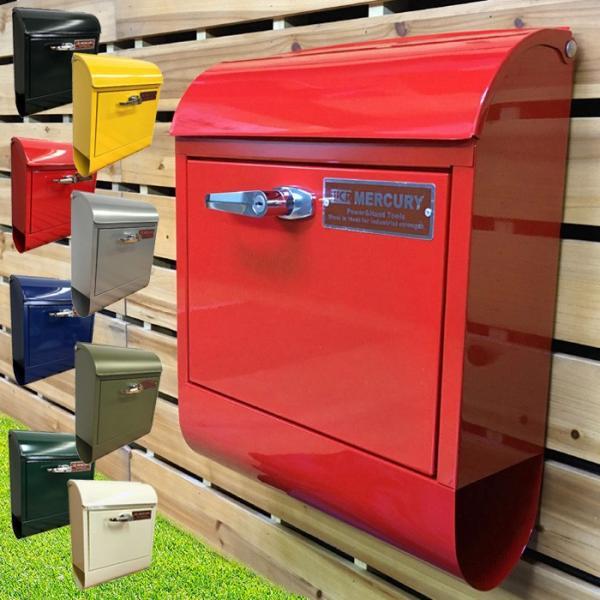 在庫有り 壁掛けポスト おしゃれ 郵便ポスト ハンドル付き  マーキュリー ハンドルロック メールボックス MERCURY MCR MAIL BOX 郵便受 ポストMEHAMA 新生活