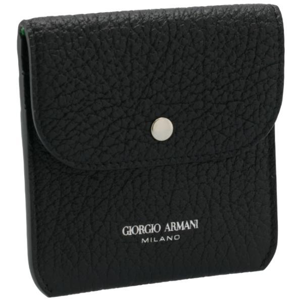【21年春夏SALE】ジョルジオアルマーニ/GIORGIO ARMANI カードホルダー メンズ ゴートレザー カードケース BLACK/GREEN Y2R490-YVA3X-82932