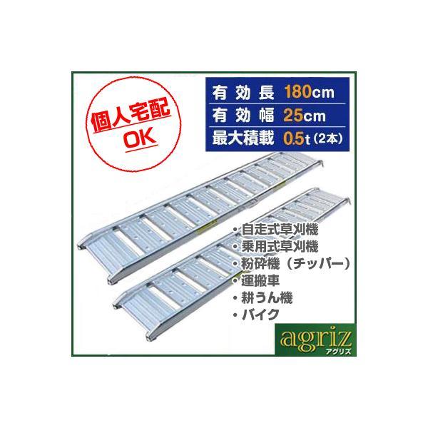0.5t アルミブリッジ 2本セット シンセイ アルミブリッジ(フック式・ツメ式 有効長さ1800mm×有効幅250mm)道板 歩み板 ラダー 小型建機・農機用|agriz