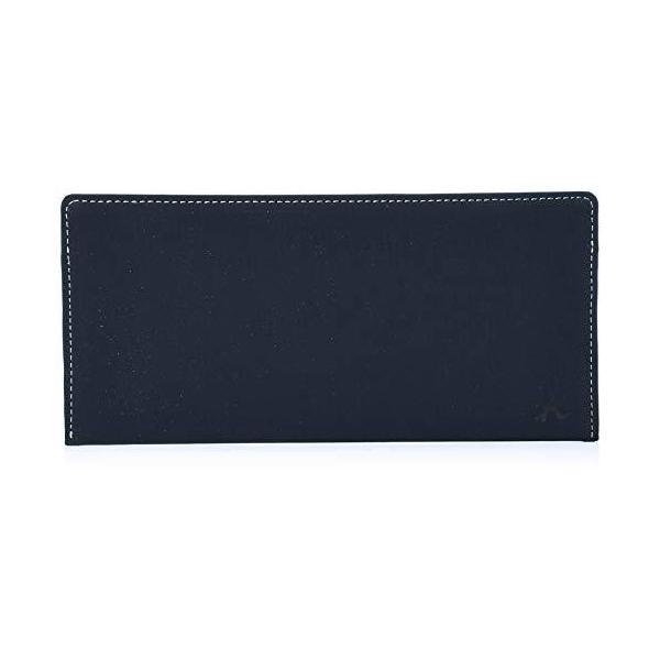 キタムラ 長財布(札入れ)スエードのような風合いPH0667ダークブルー/ホワイトステッチ 紺 10901