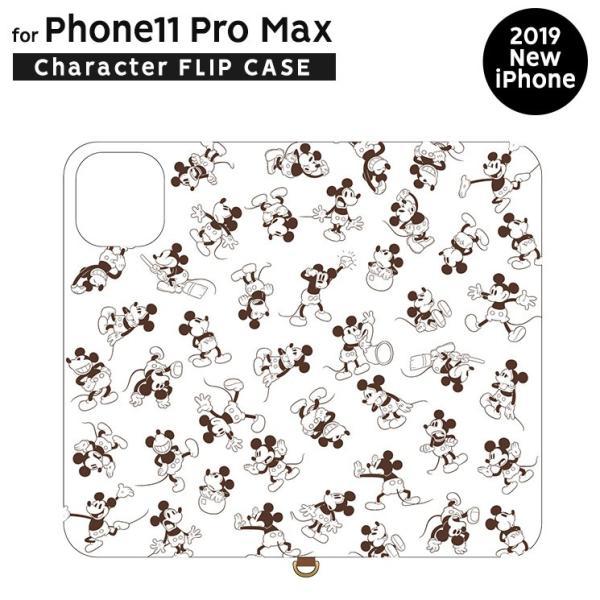 ディズニー iPhone11 Pro Max 手帳型ケース フリップ式 カードポケット ミッキーマウス DN-660A